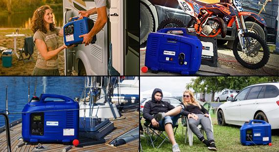 Inverter Stromerzeuger versorgt dich beim Camping, beim Motocross, auf dem Boot und beim Festival mit Strom