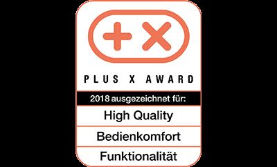 Plus X Award für High Quality, Funktionalität und Bedienkomfort