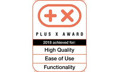 Plus X Award 2018 für High Quality, Funktionalität und Bedienkomfort