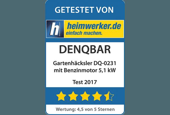 Broyeur de végétaux DENQBAR  obtient 4.5 étoiles dans le test de heimwerker.de