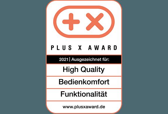 """Plus X Award """"High Quality"""", """"Funktionalität"""" und """"Bedienkomfort"""""""