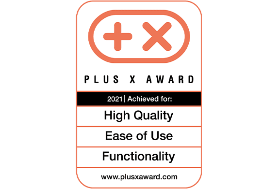"Plus X Award ""High Quality"", ""Functionality"" und ""Ease of Use"""