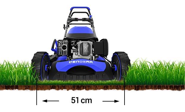 Der DENQBAR Rasenmäher großer Schnittbreite von 51 cm