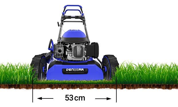 Der DENQBAR Rasenmäher großer Schnittbreite von 53 cm