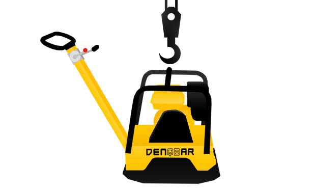 DENQBAR professional plate compactor with protective frame and slingbar