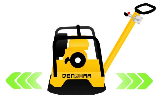 DENQBAR professional reversible plate compactor with forward and return flow