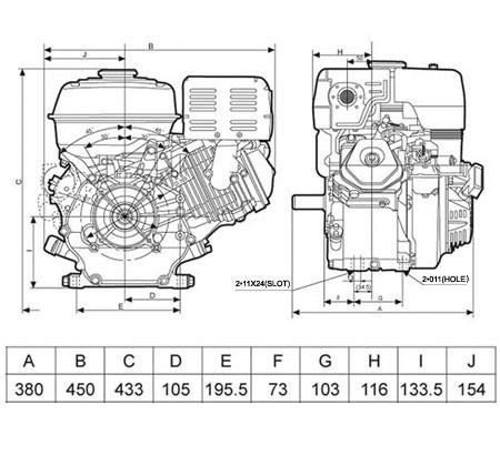 Universal Benzinmotor mit 9,6 kW (13 PS) 390 ccm 25 mm S-Typ