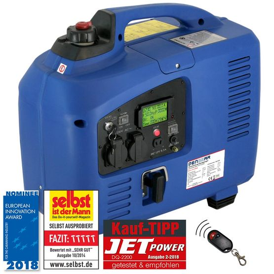 REMOTE & E-START 2.2 kW silent suitcase digital generator 230 V inverter
