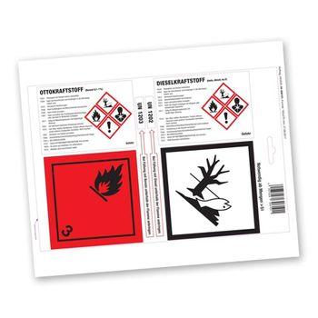 Haftetiketten gemäß GHS/CLP-Verordnung zur Kennzeichnung von Kraftstoffkanistern